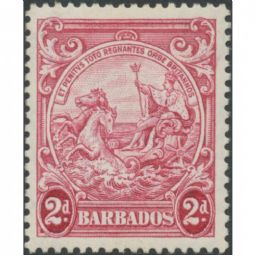 Barbados 1941 SG250c 2d. Badge of the Colony, claret